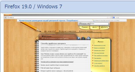 отображение сайта