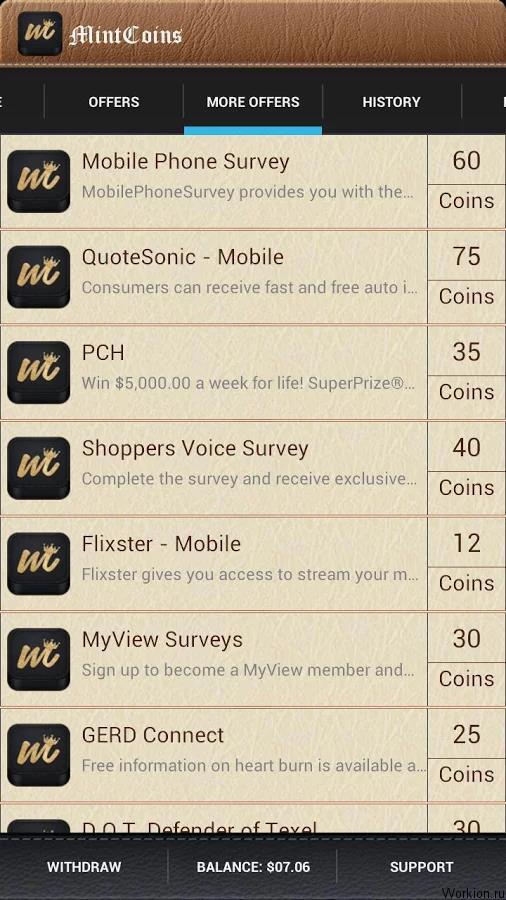 MintCoins для заработка на Android