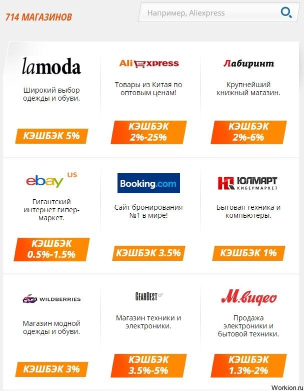 Кэшбэк Список Магазинов