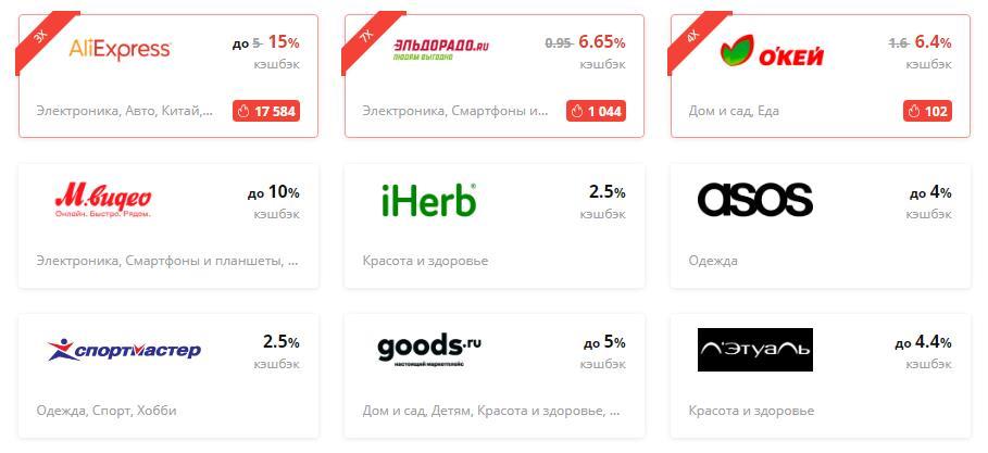 интернет магазины с кешбеком