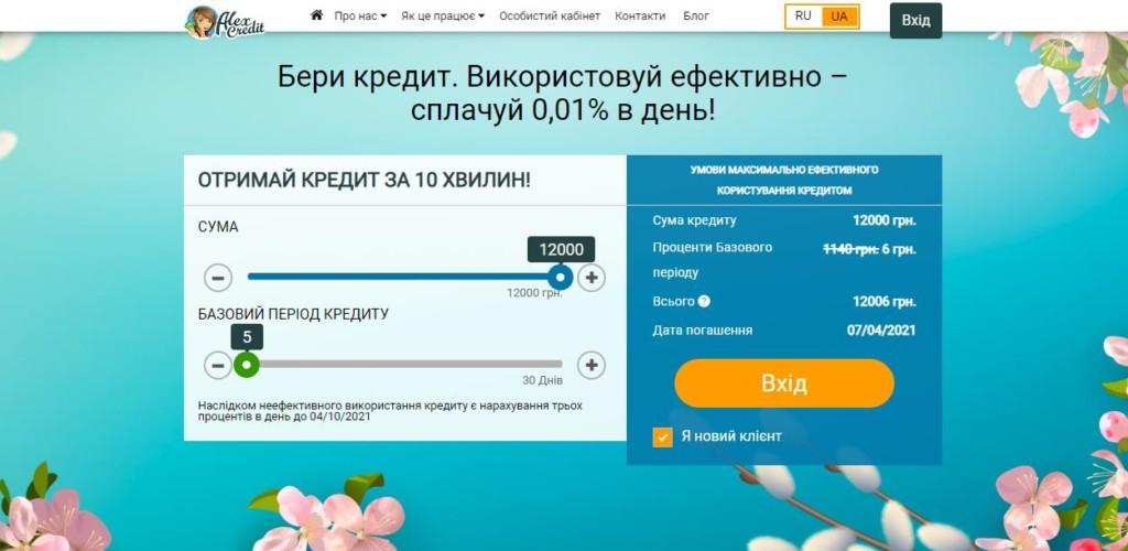 Alexcredit кредит онлайн